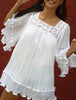 White Angel Blouse Long, Gauze Top, Blusa Angelita