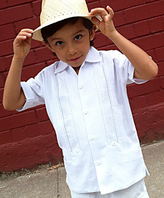 Childrens White Handmade Authentic Guayabera from Yucatan