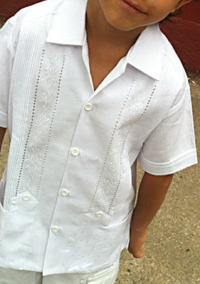 Childrens Authentic Embroidered Guayabera Detail