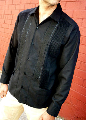 Authentic Guayabera Rejilla Long Sleeve Black 100% Cotton
