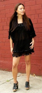 Black Angel Blouse Long, Gauze Top, Blusa Angelita