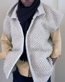 Handmade wool vest natural color textured