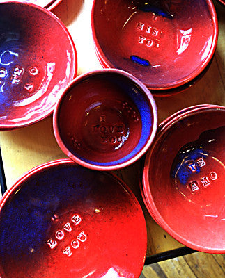 Handmade ceramic dishes with engraved sayings