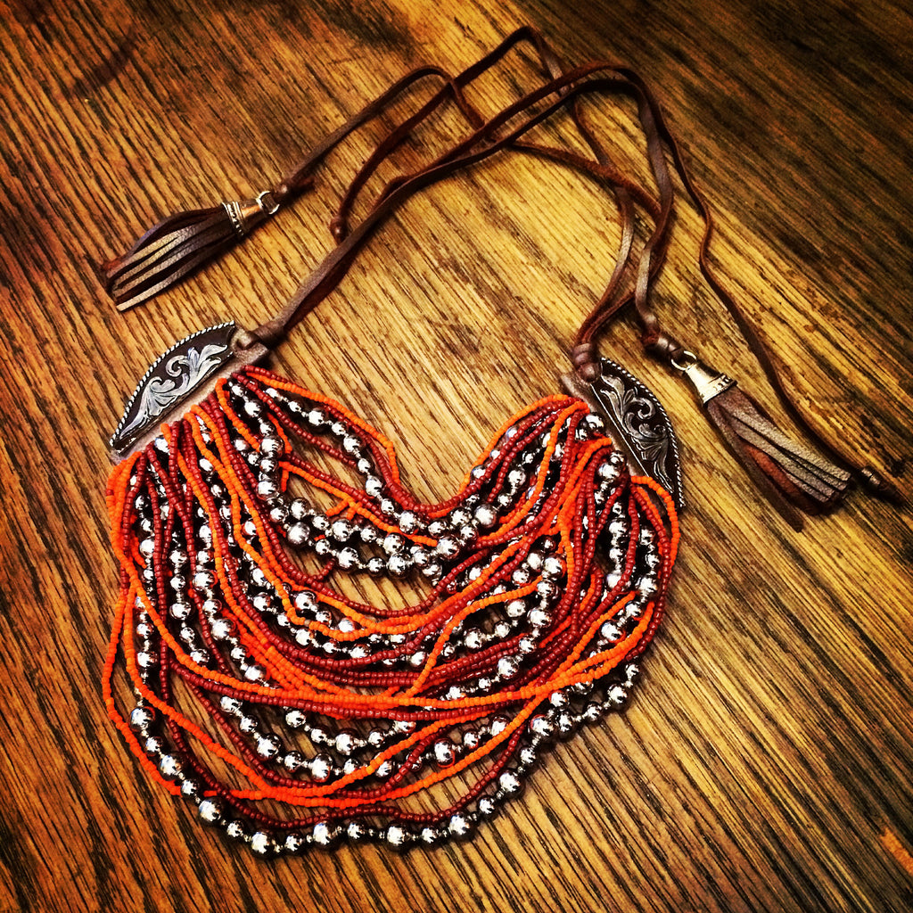 Beaded Leather Necklace, Orange Silver, Marisol Mercado Temple De México
