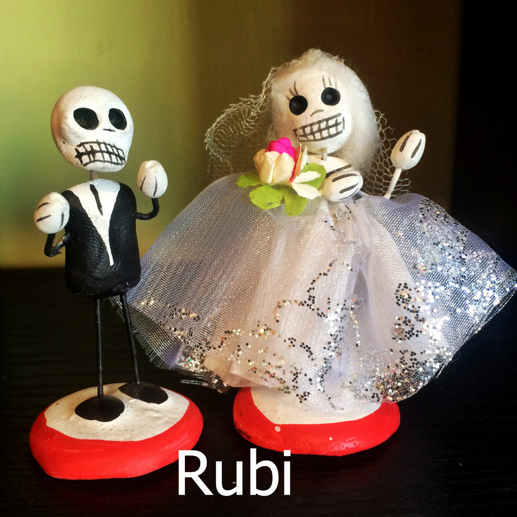 Day of the Dead Bride and Groom Figures / Cake Toppers, Rubi