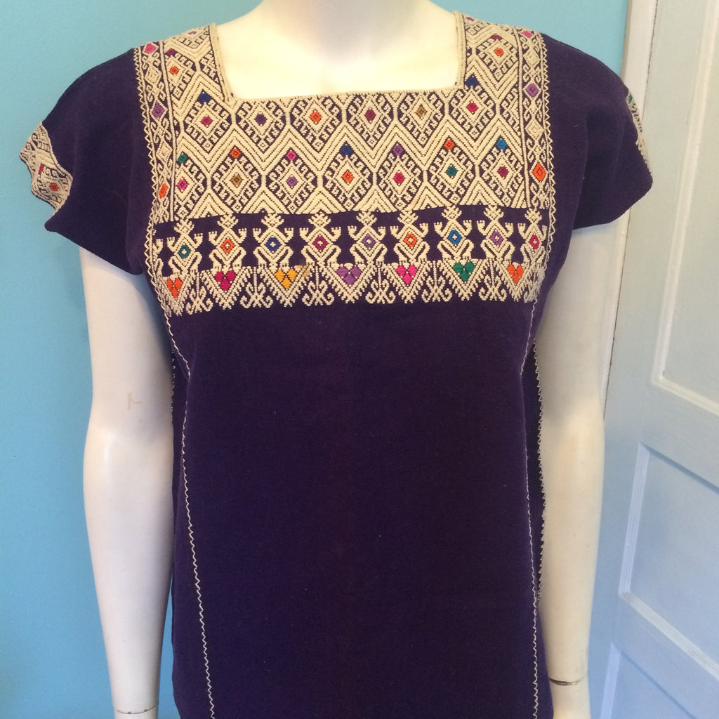 Purple Huipil from Chiapas, hand woven, hand embroidered