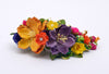 floral spray purple yellow hair accessory