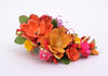 floral spray yellow and orange lillys pink flowers hair accessory