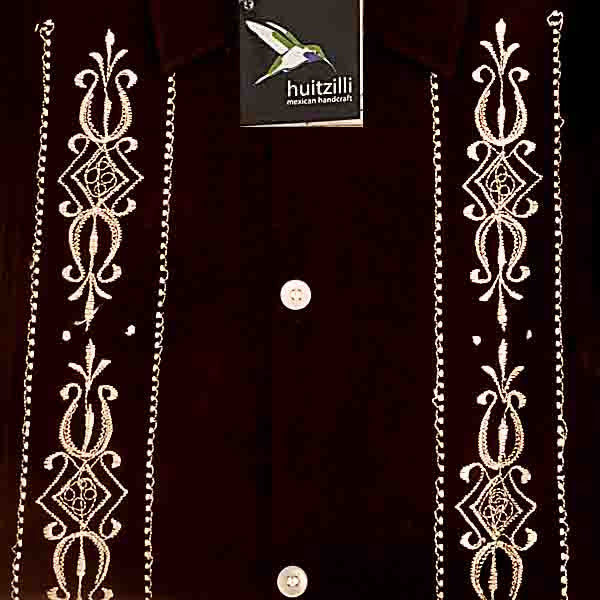 Guayabera Rejilla 100% Cotton Black with White