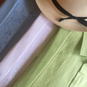 Guayabera Rejilla in Cotton, Light Blue, White, and Apple Green