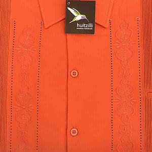 Guayabera Rejilla 100% Cotton Burnt Orange