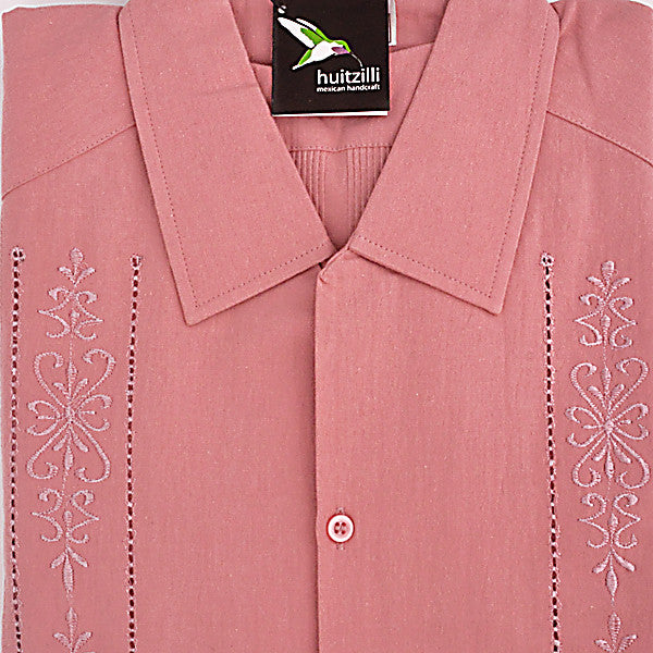 Guayabera Rejilla 100% Cotton Antique Pink