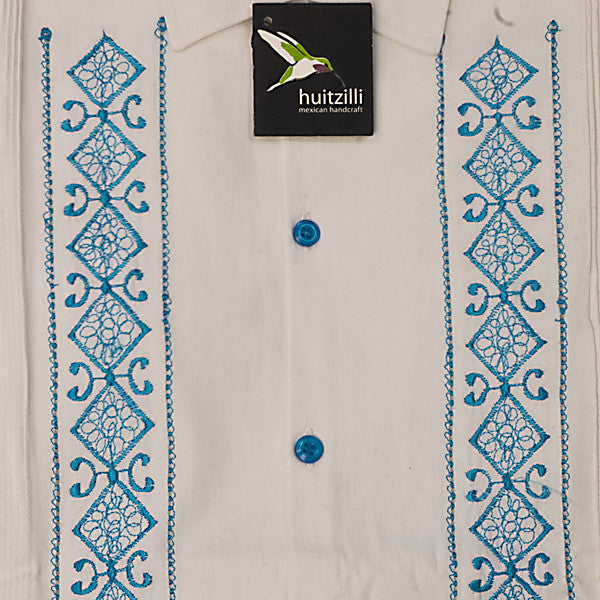Guayabera Rejilla 100% Cottin White with Blue Embroidery and Buttons