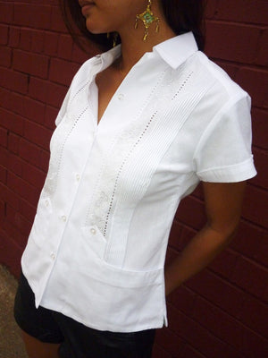 Luxury Authentic womens White Guayabera short sleeve front
