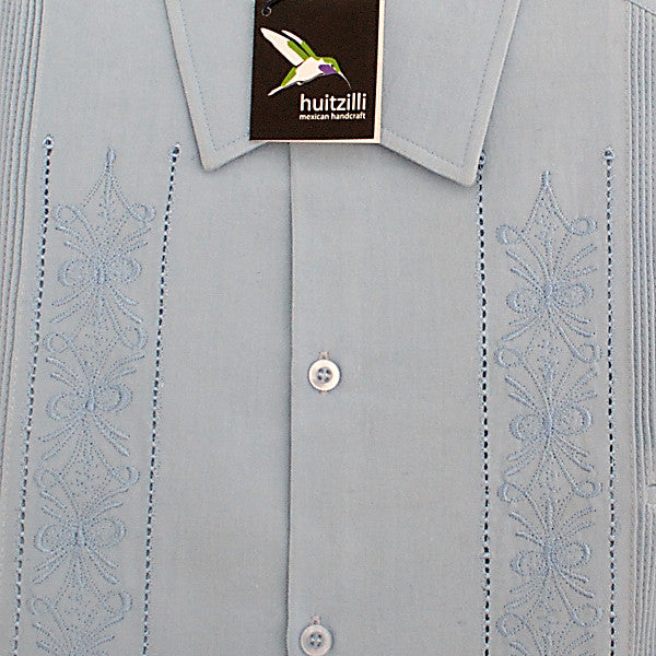 Guayabera Rejilla 100% Cotton Light Blue