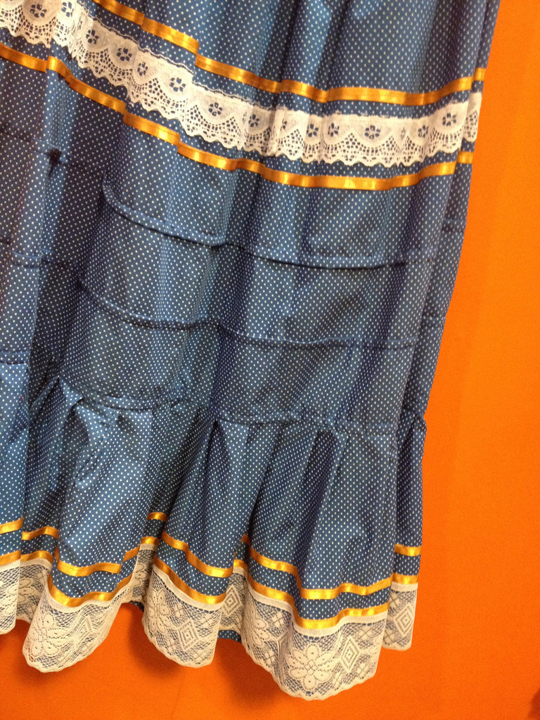 Authentic Mexican blue dot two piece huipil skirt detail