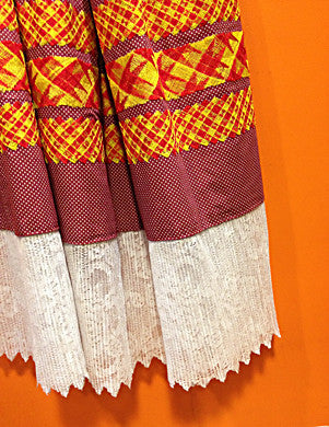 Authentic Mexican red dot two piece huipil skirt example