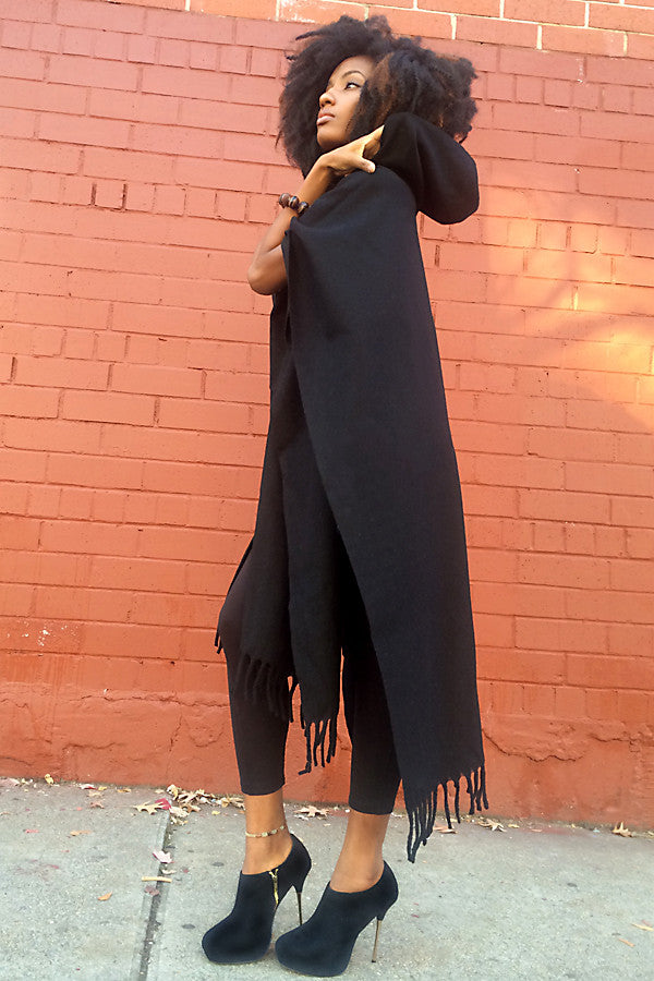 Long Hooded Poncho, Open Front, Unisex