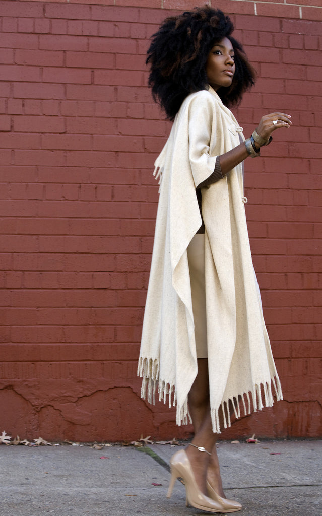 Wool Poncho with Scarf, Long with Fringe, Natural