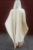 Hooded Wool Poncho, Closed Front, Long with Fringe, Natural
