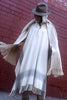 Hooded Wool Poncho, Closed Front, Long with Fringe, Natural with Stripe