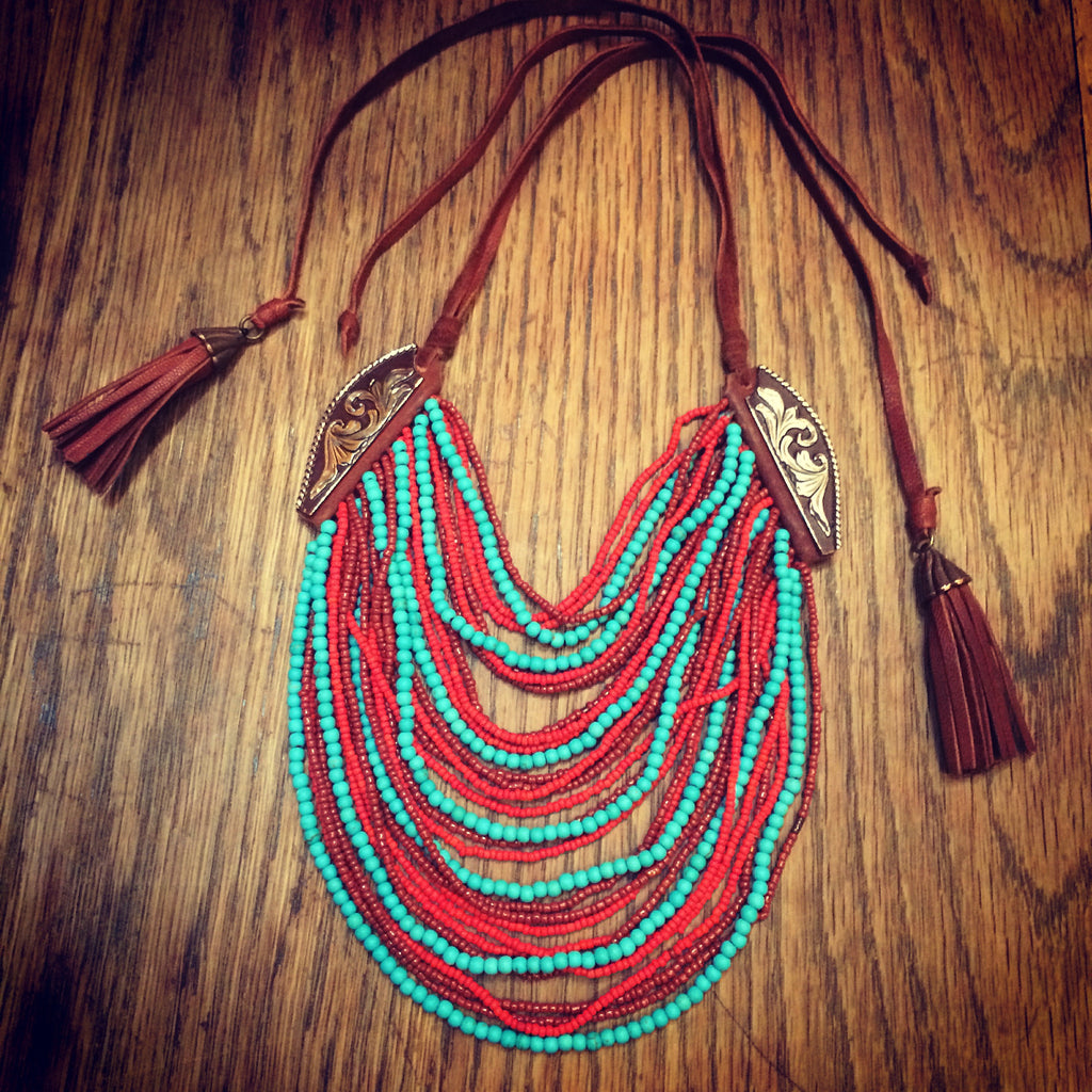 Beaded Leather Necklace, Turquoise Red, Marisol Mercado Temple De México