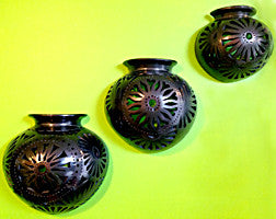 Handmade Black Pottery Half Jar made in Oaxaca Sizes