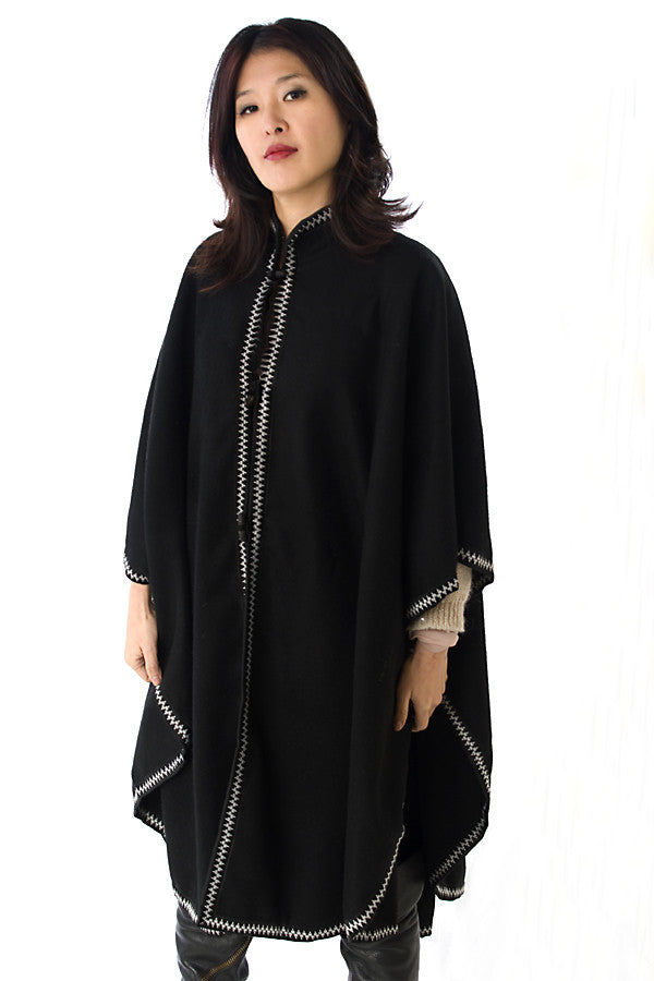 Rounded Wool Cape with Collar and Trim, Black with Black and White