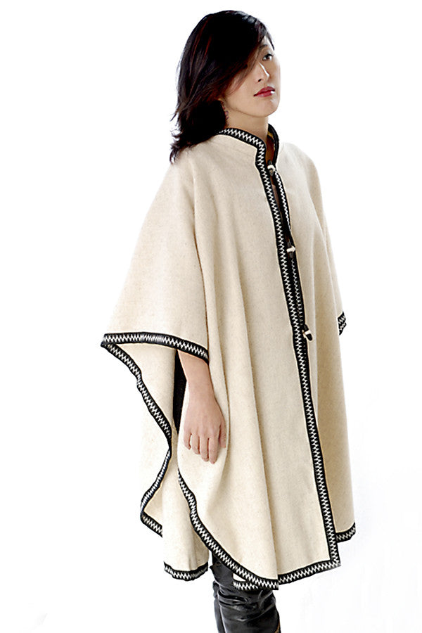 Rounded Wool Cape with Collar and Trim, Natural with Black and White