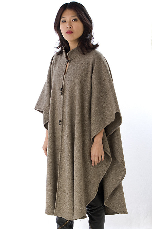 unisex rounded wool poncho with mandarin collar, grey regular