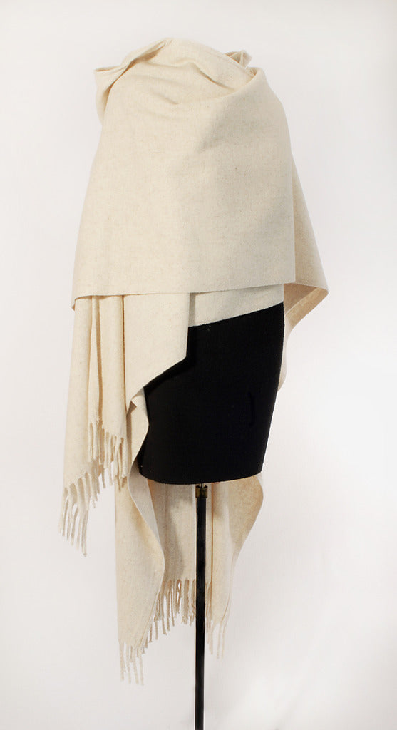 Authentic womens white Hooded wool poncho draped front