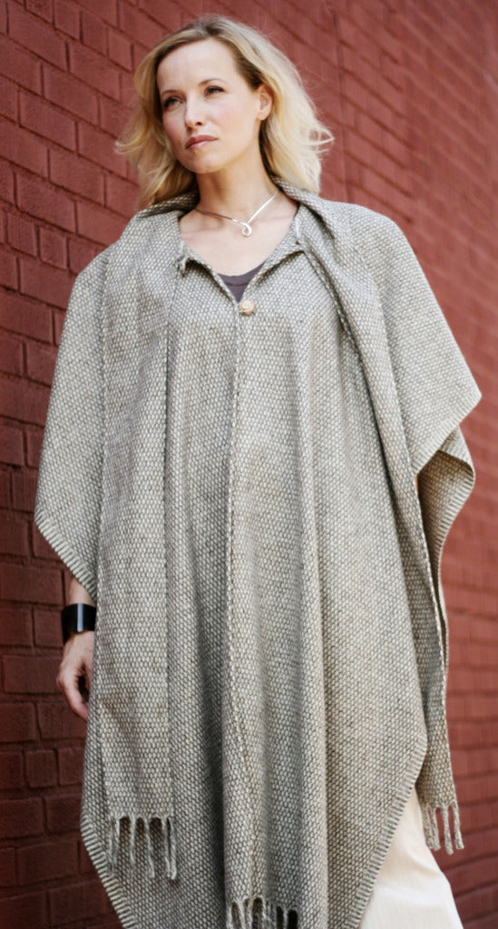 Wool Poncho with Scarf, Long with Fringe, Natural with Pattern