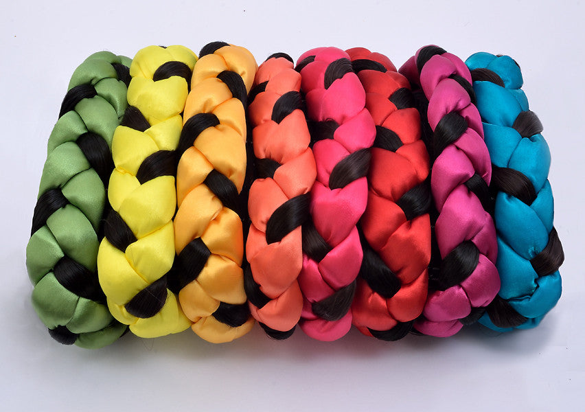 colors selection of satin and faux hair braided headbands