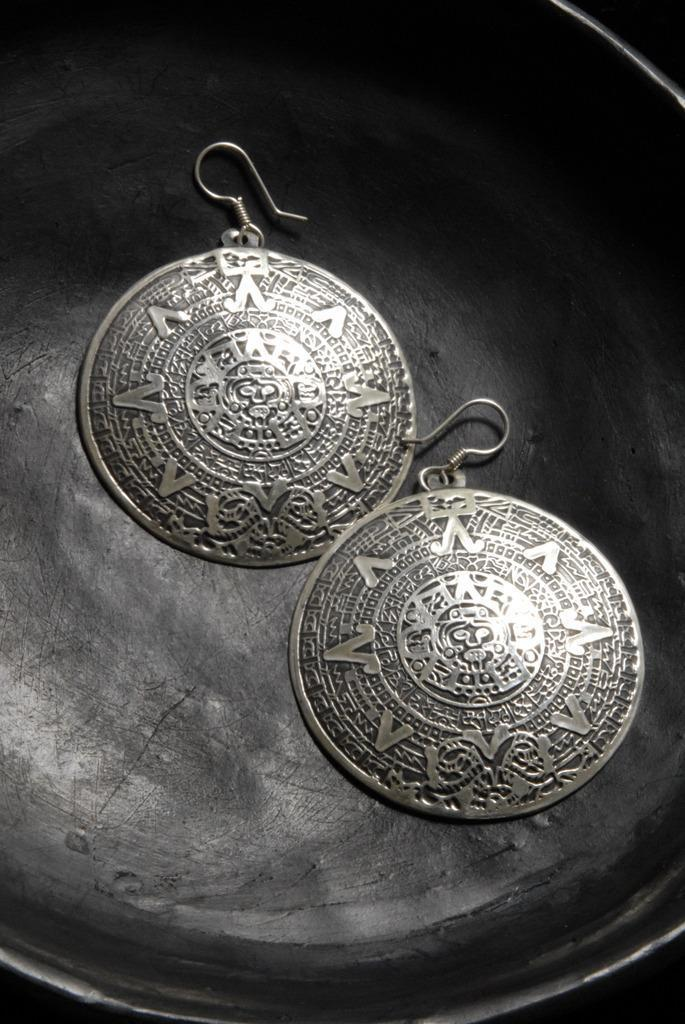 Authentic .950 silver Aztec Calendar Earrings