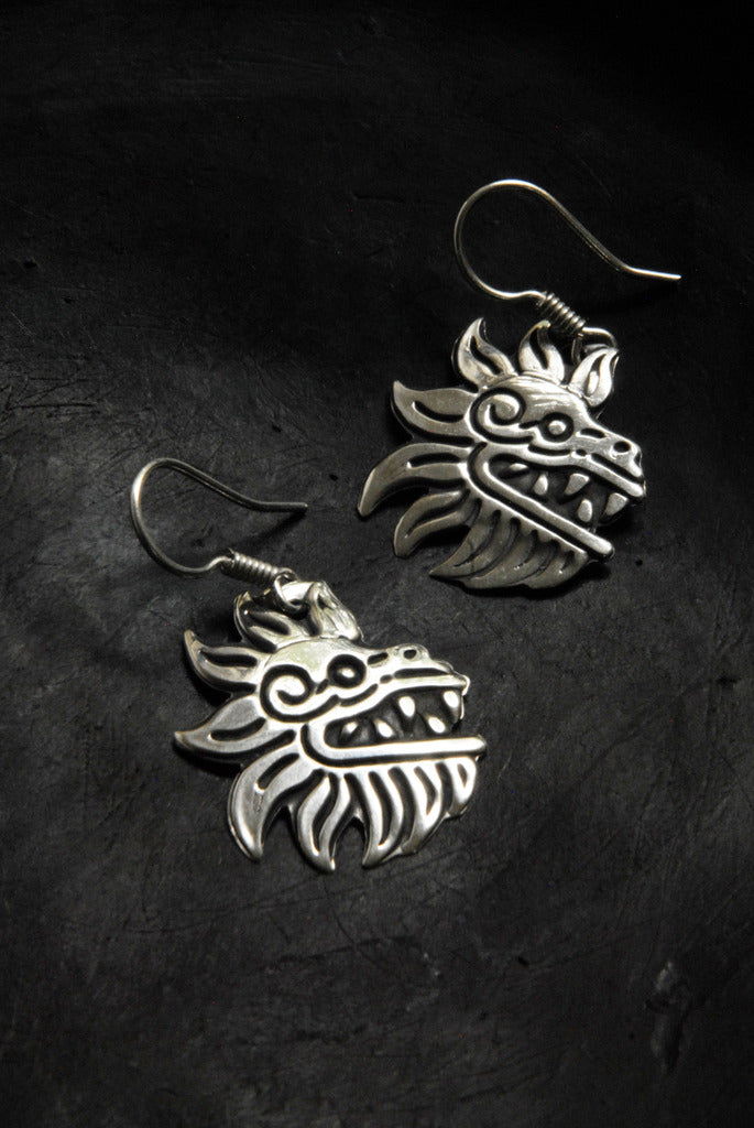 Authentic Prehispanic Feathered Serpent .950 silver Earrings