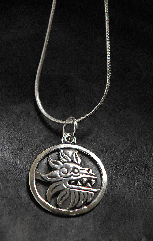 Authentic Prehispanic feathered serpent .950 silver pendant necklace