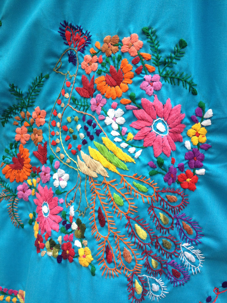 Authentic handmade embroidered Mexican Peasant dress detail