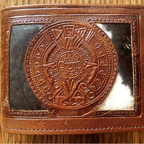 Bi-fold Leather Wallet, Mexican Theme Detail Axtec Calendar