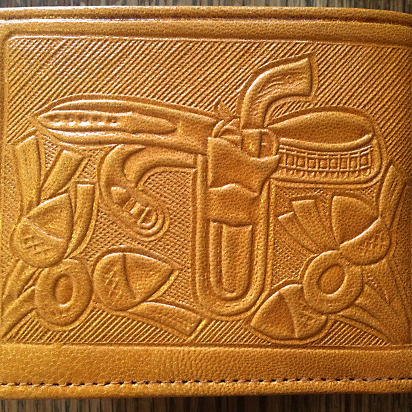 Bi-fold Leather Wallet, Mexican Theme Detail Holster