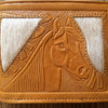 Bi-fold Leather Wallet, Mexican Theme Detail Horse