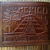 Bi-fold Leather Wallet, Mexican Theme Detail Pyramid