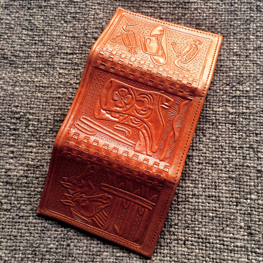 Leather Trifold Wallet, Stamped with Aztec and Western Designs