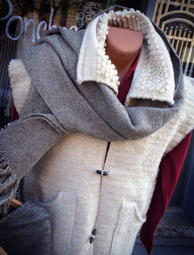 Handmade wool vest natural color smooth texture