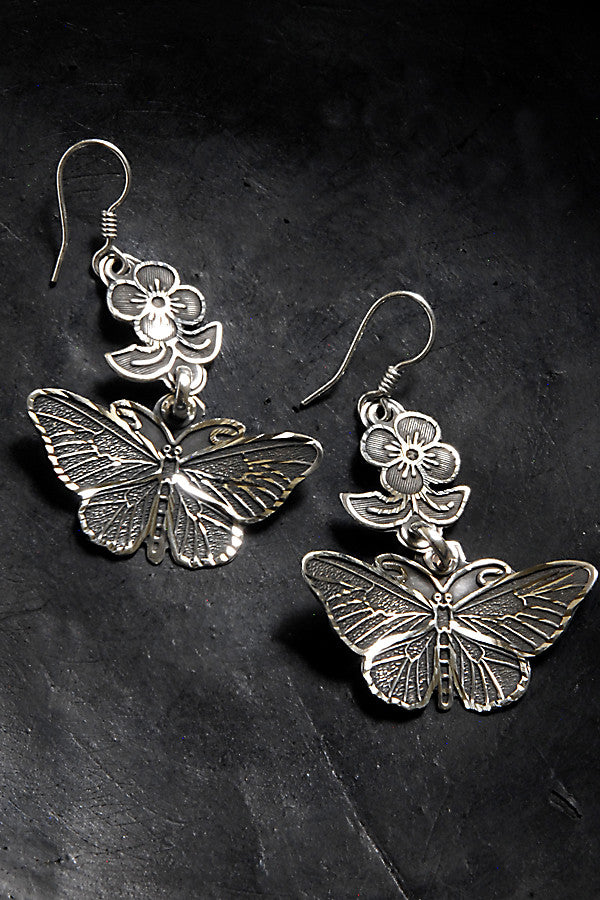 Butterfly Earrings .950 Silver from Taxco, Collection Zeferina Silvas