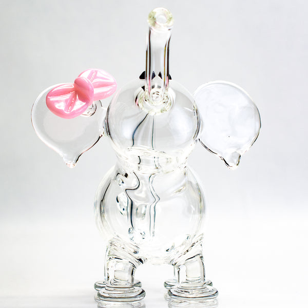 Flame Princess - 10mm Micro Elephant with Pink Bow - Clear