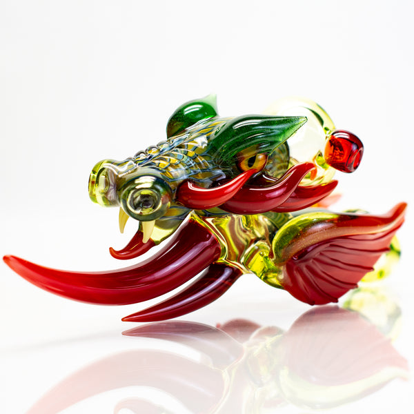 Mike Luna - Dragon Hand Pipe - UV Illuminati & Green Stardust