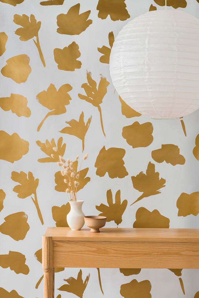 Petals Pressed Wallpaper - Gold