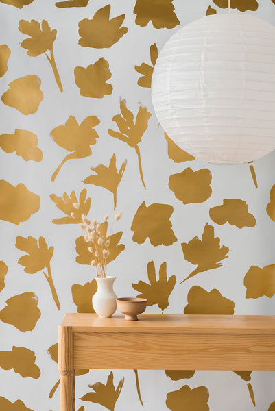 Petals Pressed Wallpaper - Gold - Commercial Grade
