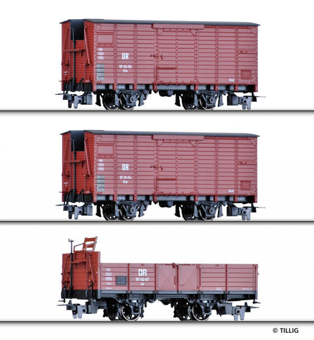 Tillig 5971 HOe Freight car set of the DR