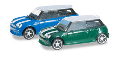 Herpa 065252-003 2 x Mini Coopers Green/Blue